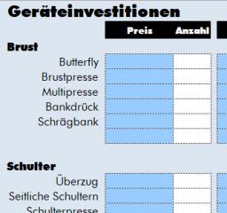 Checkliste Investitionen Gründung Fitnessstudio