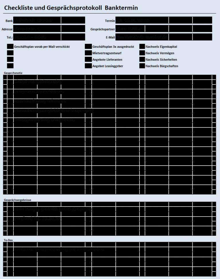 Checkliste Bankgespräch